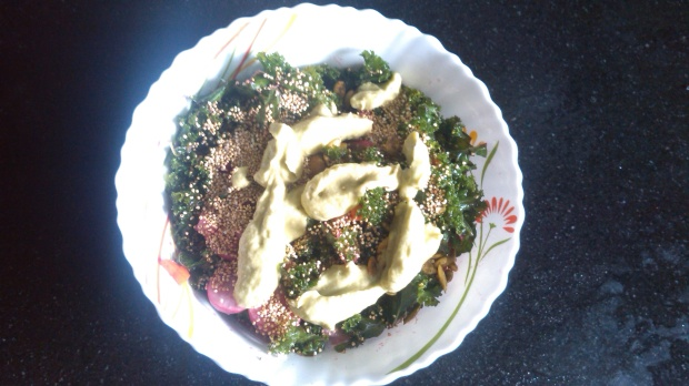 Kale and Buckwheat Salad with Avocado Dressing