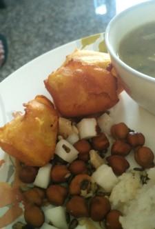 Paah proxad or prasad and pumpkin fritters, Gitika's Pakghor