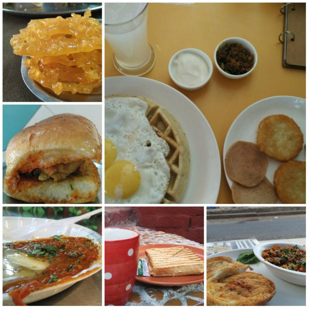 Clockwise - Jalebi at Chandravilas, Waffles at Sandwich Workz, Surti Keema at R.K. Egg Eatery, Sandwich and Filter Coffee at Natrani Cafe, Pav Bhaji at Manek Chowk, Vada Pav at Shriji Krupa