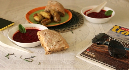 Beetroot Soup and Roasted rosemary Sweet Potatoes - Disgrace: The Literary Kitchen #4
