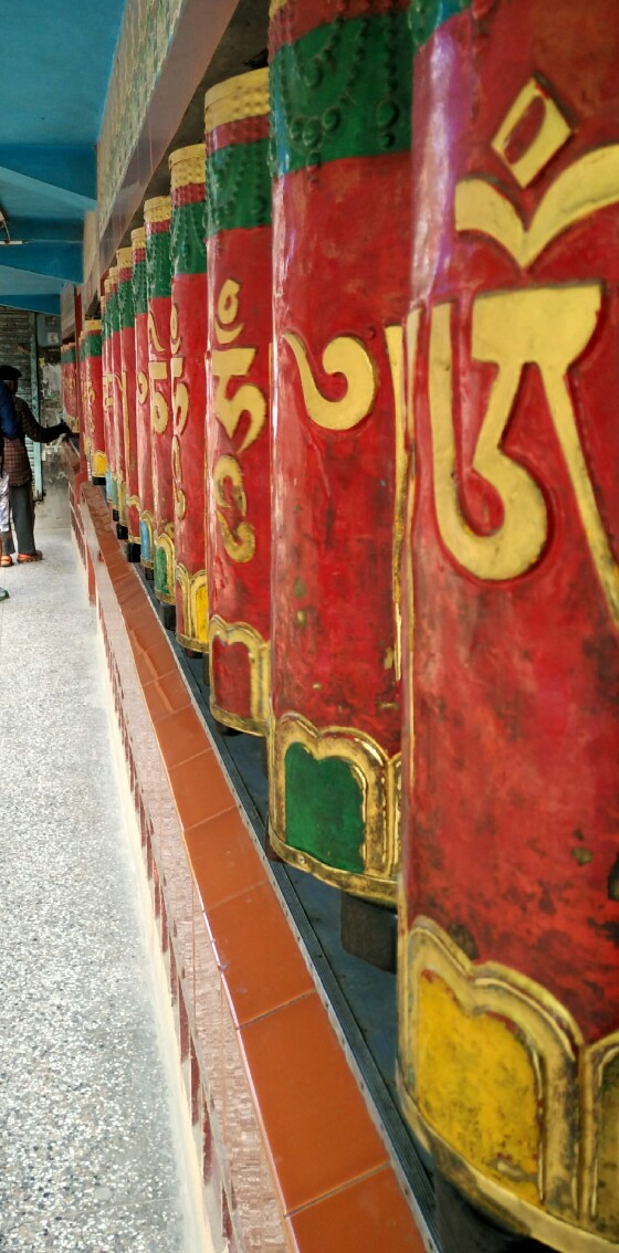 Prayer wheels at the temple in McLeodganj