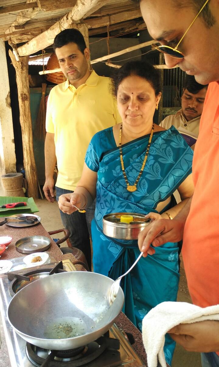 Mrs Kelkar teaching us how to make panchamrut