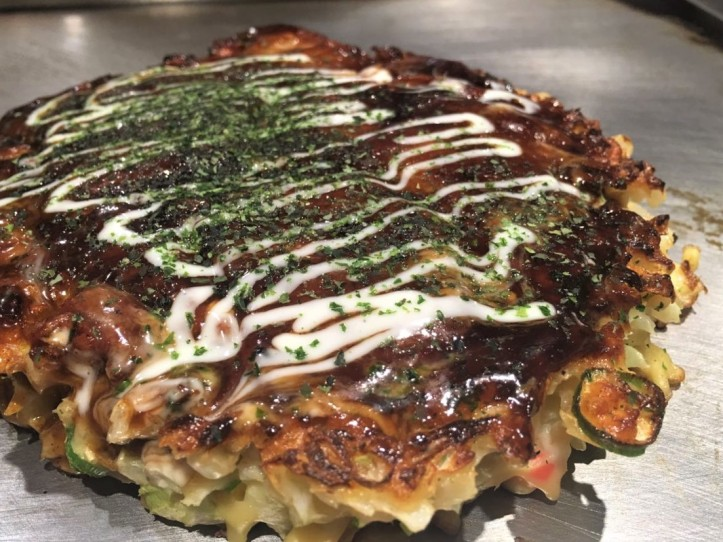 Okonomiyaki in Dotonbori, Osaka