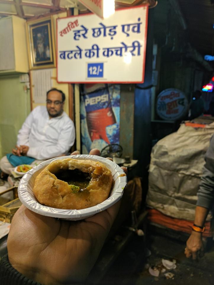 Hare chhod aur batle ki kachori at Sarafa Market, Indore